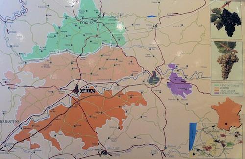 Mapa vitivinícola de AOC Gaillac