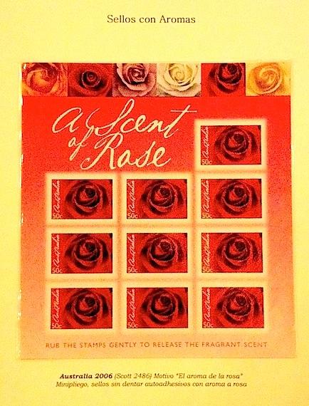 Aromas de rosa en sellos de Australia