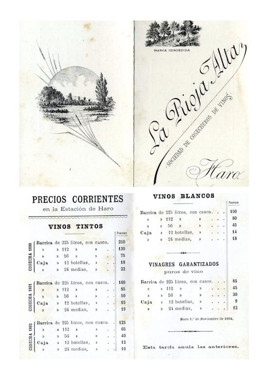 Tarifa La Rioja Alta 1894
